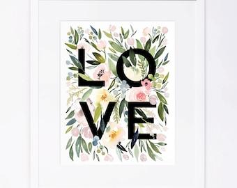 Watercolor Floral LOVE Print