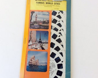 Vintage Sawyers Viewmaster Reel, Famous World Cities Reel Pak, View Finder, Tourist Slides, Photography, World Monuments, View Master Toy