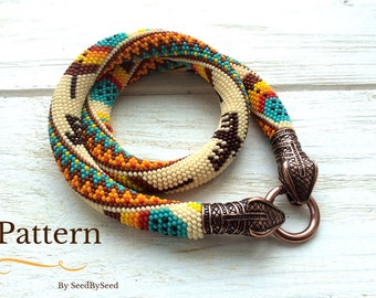 Bead Crochet PATTERN, Aztec Native American Feathers Eagle seed bead knitted necklace pattern