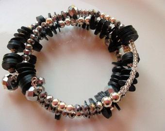 Wrap bracelet silver black bakelite discs czech beads festive bracelet hippy bracelet memory wire