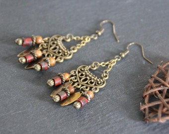 Chandelier earrings, ethnic / Boho style, wood and picasso finished czech glass beads