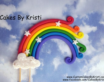 "Fondant Rainbow Cake Topper- 6"" (MADE TO ORDER)"