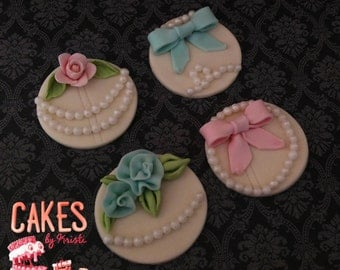 Vintage Fondant Cupcake Toppers (MADE TO ORDER)