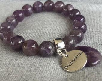 AMETHYST PSYCHIC PROCTECTION Gemstone Bracelet - by Miss Positive Jewellery