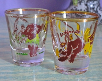 """SHOT GLASSES """"Bottoms Up"""" and """"Here's Looking At You"""" Black AMERICANA Tribal Shot Glasses - 1950s Set of Two Vintage"""