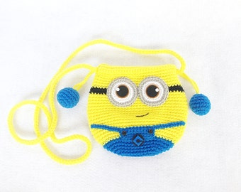 Minions crocheted purse or bag ,Crochet minions, Handmade crochet bag, crochet purse