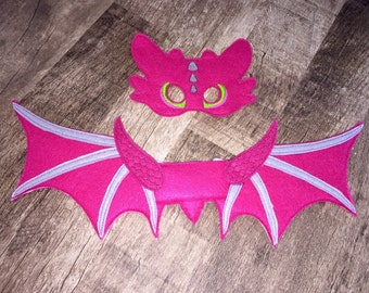 Toothless Pink Dragon Wings & Mask Set Costume
