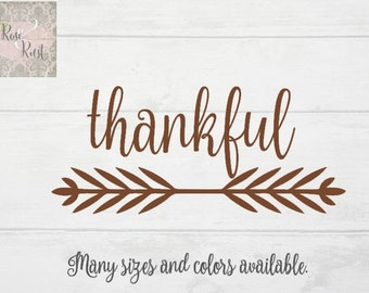 Thankful Decal, Thanksgiving Decal, Give Thanks Decal, Thanks Giving Decal, Harvest Decal, Fall Decal, Calligraphy Decal