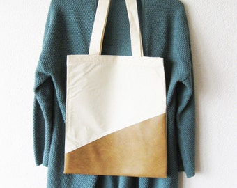 Canvas Tote Bag with Artificial Leather Handmade and Sustainable