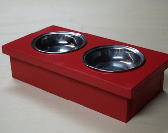 cat bowl feeding station with bowls raised cat bowl holder small dog feeding station - Cat Bowls