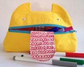 Zip Monster Pencil Case Handmade Screenprint Zip Pouch Cotton Canvas Yellow