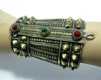 Afghan Kuchi Bracelet,Tribal Bracelet,Turkmen,Hippie,Ethnic Bracelet,Spike Bracelet,Boho Jewelry,Antique,Bohemian,Gypsy Boho,Gothic Bracelet