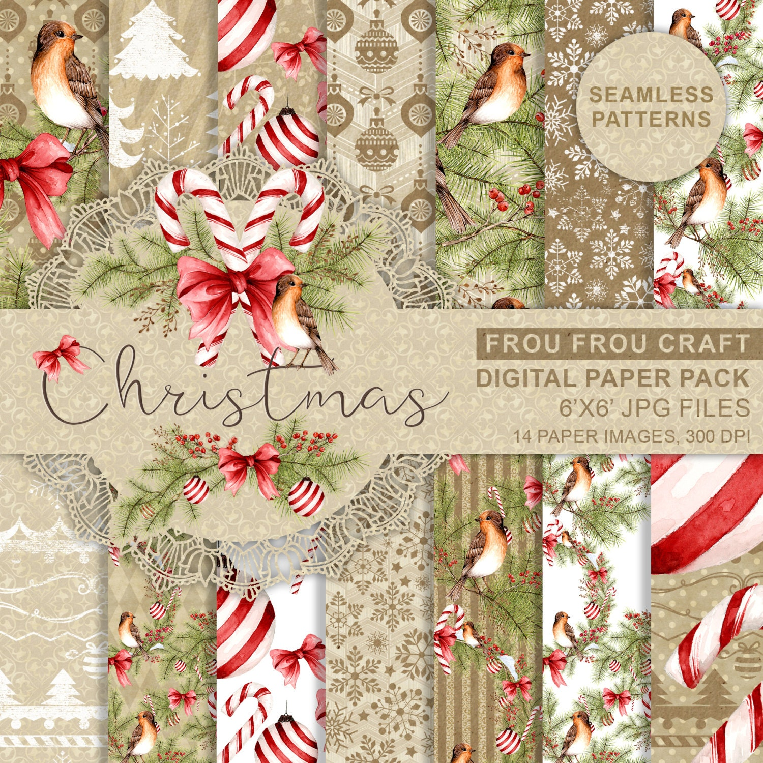 Printable paper backgrounds christmas -  Zoom