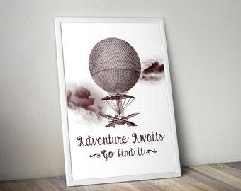 Hot air balloon print, poster, wallart, gallery wall