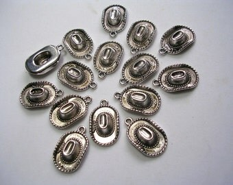 Cowboy Hat Charms Antiqued Silver Charms Rodeo Charms 3D Dangles Detailed Hat Charms 25 Charms  22mmX13mmX5mm 2mm hole Tibetan Hat Charms