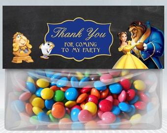 Treat bag topper Princess Belle.Thank you favor bags of Princess Belle and the Beast,Belle favor treat bag topper.Princess Belle goodies
