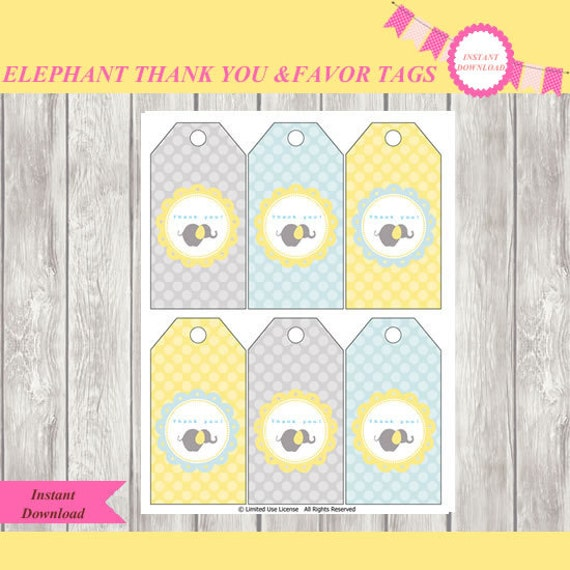 elephant baby shower thank you tags favor tags party supplies party