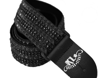 ROCK N ROLL Guitar Strap, Edgy Guitar Strap, Black Guitar Strap