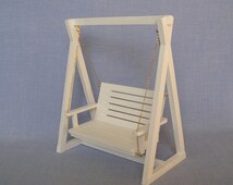 White swing for 12 inch doll / barbie size 1:6 scale  Dollhouse furniture /Barbie et al.