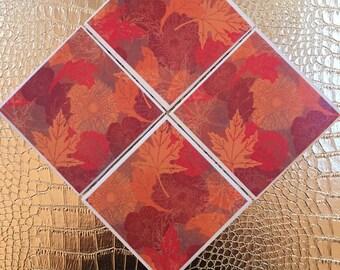 set of four handmade fall leaf coasters