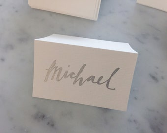Custom Hand Drawn Metallic Silver Lettering Sign / Name Cards Tags / Place Card / Calligraphy/ Party Event Wedding Birthday Outdoor Hens/