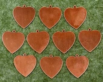Enamelling: 10 x Copper Blank Craft Shape.  Heart Plain