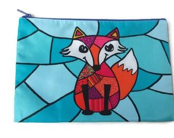 pencil case, cosmetic pouche, fox pensil case, fox pouche, fox purse