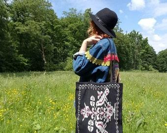 Ikat woven bag with leather handles, totebag, ikat