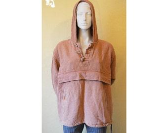 Vintage 90s unisex hoodie, activewear sweater, folk style sweater, hippy sweater, natural eco materials, old pink/orange hoodie, hoodie 41