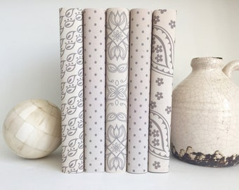 Neutral Color Decorative Books, Neutral Decor, Book Decor, Beige Book, Neutral Decorative Book Set, Paper Wrapped Books, Styled Bookshelf