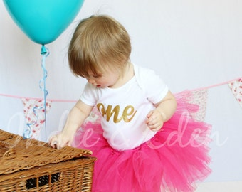 Baby girls 1st Birthday tutu birthday pink personalised gold one set photo prop cake smash
