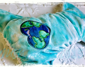 Modern cloth nappy (pocket) Minky in size MEDIUM 'Earth Heart'