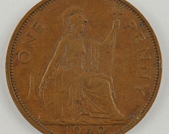 1940 Bronze One Pence UK One Penny Britain Coin