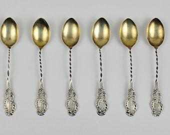 Vintage 1800's Sterling Silver Demitasse Spoons Set of Six