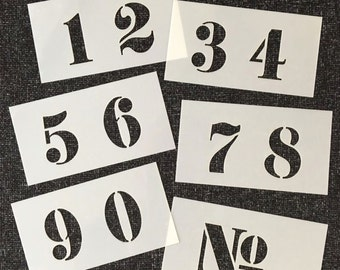 NUMBERS Stencil 40mm (about 1.5inches) high FRENCH Style on Six Tough 120 X 65mm Plastic Stencils for walls, Signs, Painting Projects.