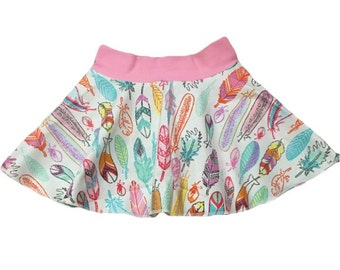 Summer Feather Circle Twirl Skirt • 100% Cotton • Baby/Toddler/Child • Custom • Handmade to Order