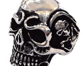 Handmade steel skeleton skull ring