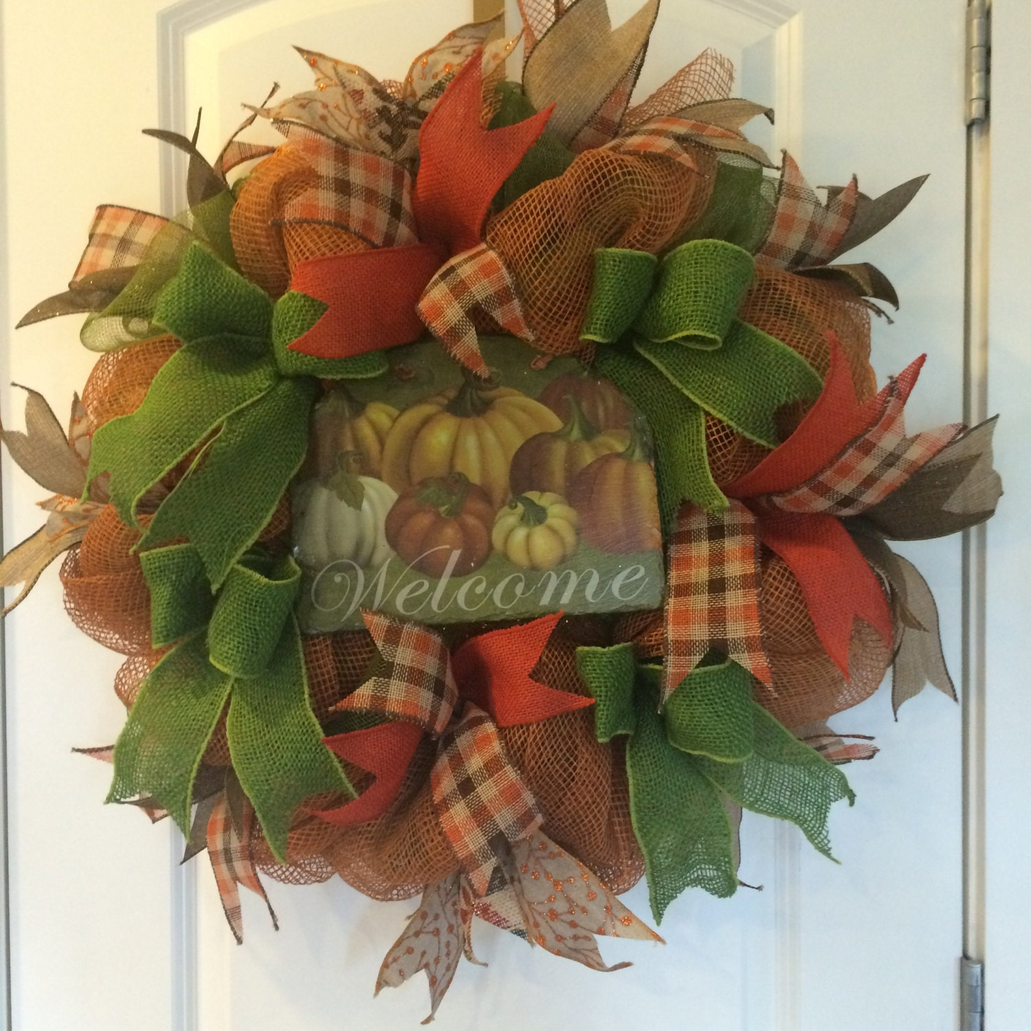 Sale Deco Mesh Fall Wreath Autumn Wreath Thanksgiving