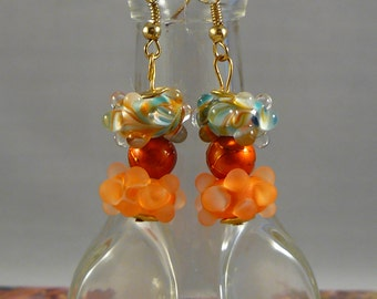 Teal and Orange Bumpy Bead Earrings