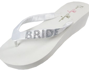 Ivory or White Wedge Bridal Flip Flops, Wedding Bride Flip Flops, Silver sparkle or choose glitter- all sizes- all heel heights- white/ivory