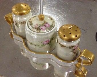Hand painted, gilded, salt, pepper, sugar set