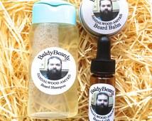 Sandalwood Amyris men's beard cleaning, grooming, conditioning & maintenance kit - Beard wash shampoo, balm, oil combi pack. Beard care kit