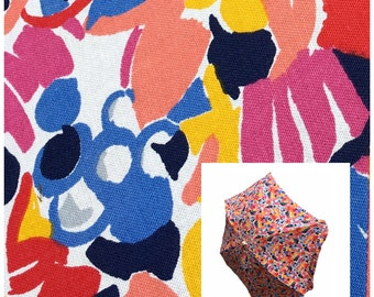 Vintage 80s beach umbrella patio Ken Done style print bright retro Shelta pink red yellow blue black