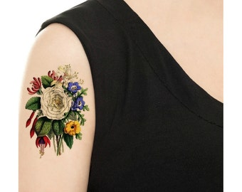 Temporary Tattoo -  Vintage Floral - Various Patterns and Sizes