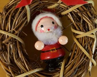 Vintage Santa on Christmas wreath Christmas Ornament