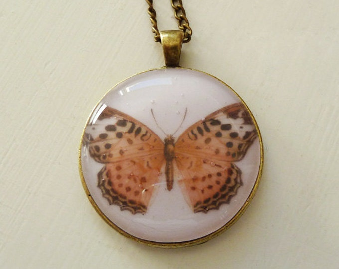 Glass butterfly pendant, pink orange red vintage butterfly illustration image on fused glass