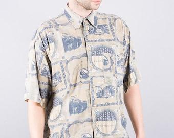 70s vintage shirt - mens - shirt with print - short sleeve shirt - pastel - 70s mens shirt - summer shirt - summer shirt - Conwell shirt