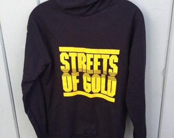 Vintage 80's Wesley Snipes Martial Arts Streets of Gold Movie Promo Hoodie Sweatshirt M