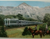 Vintage USA Postcard. Denver.Chicago.Colorado Springs.Burlington Route.Ephemera.Collectible.Denver Zephyr.USA trains. Wagon.Railroad. Rare.