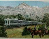 Vintage USA Postcard. Denver.Chicago.Colorado Springs.Burlington Route.Ephemera.Collectible.Denver Zephyr.USA trains. Wagon.Railroad. Rare.